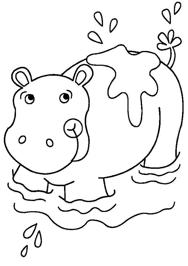 Coloriage et dessins gratuits Hippopotame dans l'eau à imprimer