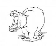 Coloriage Hippopotame dans l'eau avec sa bouche ouverte