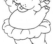 Coloriage et dessins gratuit Hippopotame danse le Ballet à imprimer