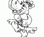 Coloriage Hippopotame danseuse