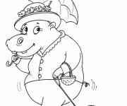 Coloriage et dessins gratuit Hippopotame élégante à imprimer