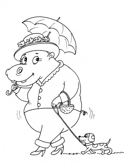 Coloriage et dessins gratuits Hippopotame élégante à imprimer