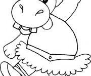 Coloriage et dessins gratuit Hippopotame en dansant à imprimer