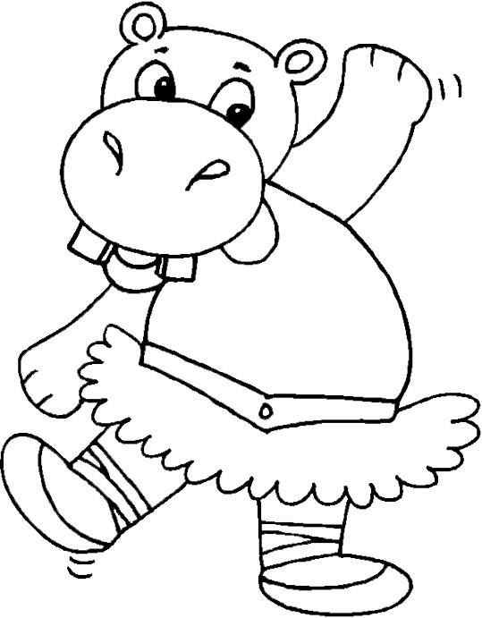 Coloriage et dessins gratuits Hippopotame en dansant à imprimer