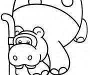 Coloriage Hippopotame en se plongeant