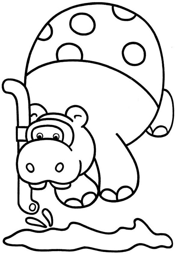 Coloriage et dessins gratuits Hippopotame en se plongeant à imprimer