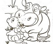 Coloriage Hippopotame et ours