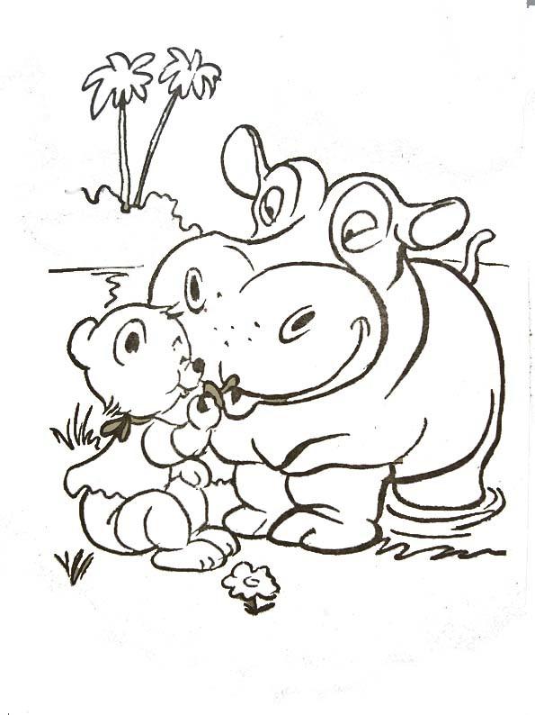 Coloriage et dessins gratuits Hippopotame et ours à imprimer