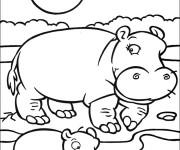 Coloriage et dessins gratuit Hippopotame et son petit sous le soleil à imprimer