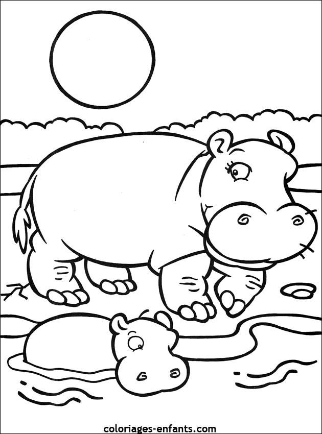 Coloriage et dessins gratuits Hippopotame et son petit sous le soleil à imprimer