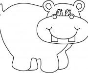 Coloriage et dessins gratuit Hippopotame heureux à imprimer