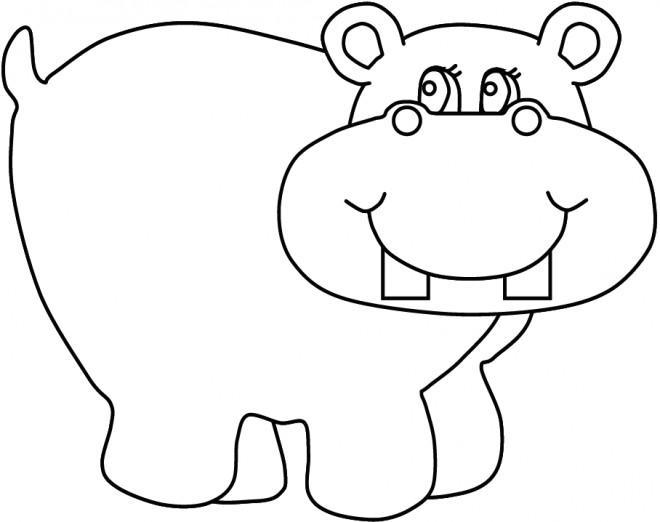 Coloriage et dessins gratuits Hippopotame heureux à imprimer