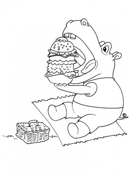 Coloriage et dessins gratuits Hippopotame humoristique à imprimer