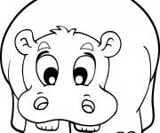 Coloriage et dessins gratuit Hippopotame mignon à imprimer