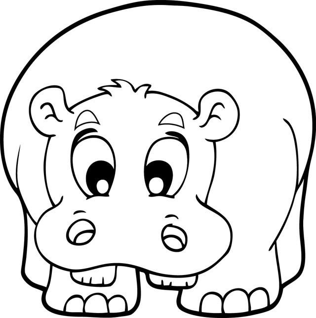 Coloriage et dessins gratuits Hippopotame mignon à imprimer