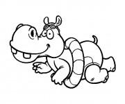 Coloriage Hippopotame nageur