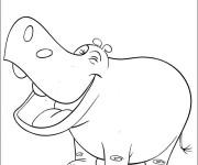 Coloriage et dessins gratuit Hippopotame rigolo à imprimer