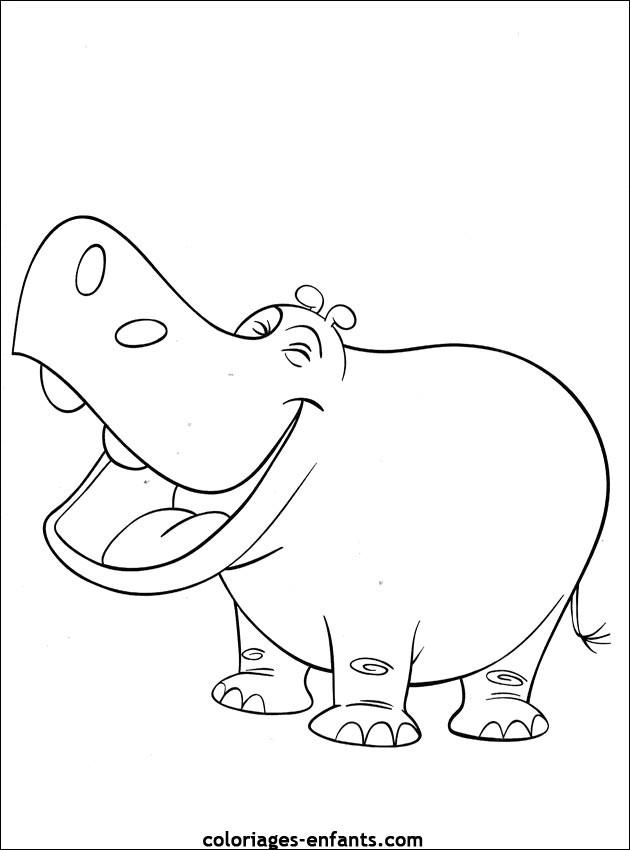 Coloriage Bebe Hippopotame.Coloriage Hippopotame Rigolo Dessin Gratuit A Imprimer