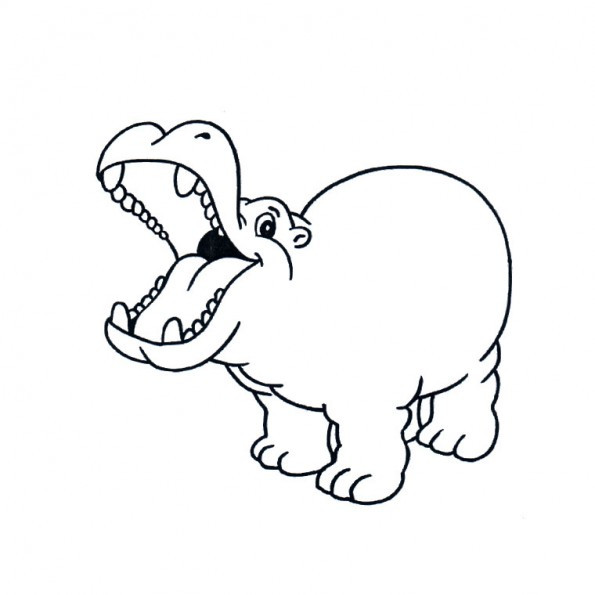 Coloriage et dessins gratuits Hippopotame s'amuse à imprimer