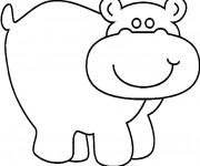 Coloriage et dessins gratuit Hippopotame simple à imprimer