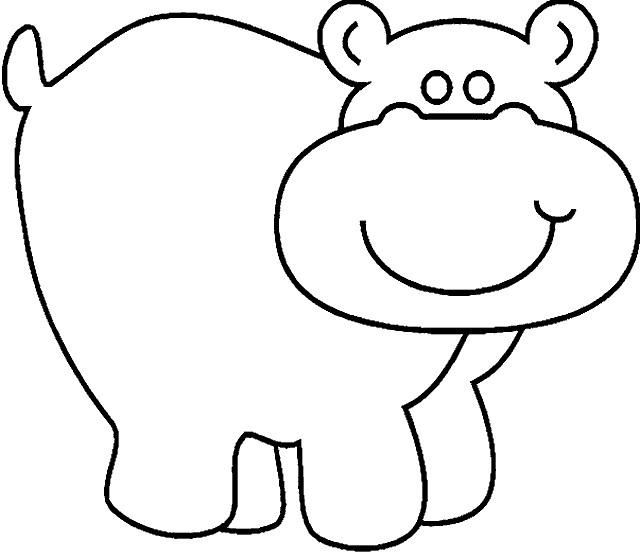 Coloriage et dessins gratuits Hippopotame simple à imprimer