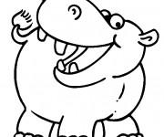 Coloriage et dessins gratuit Hippopotame souriant à imprimer