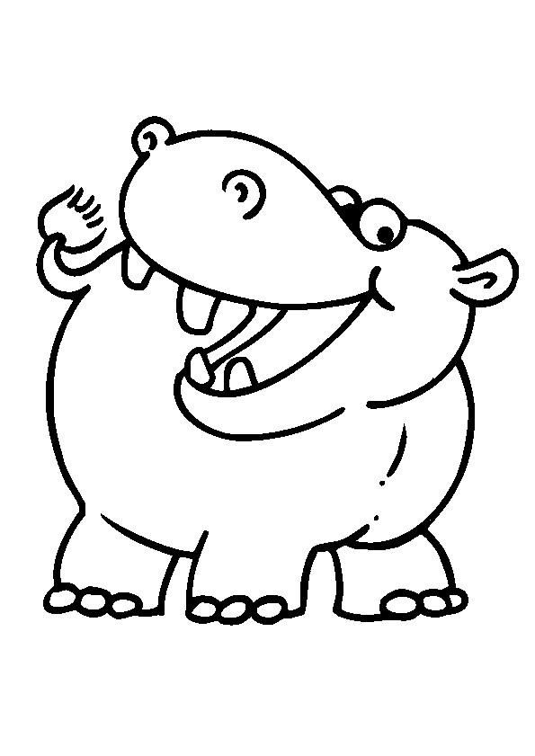 Coloriage Hippopotame Souriant Dessin Gratuit à Imprimer