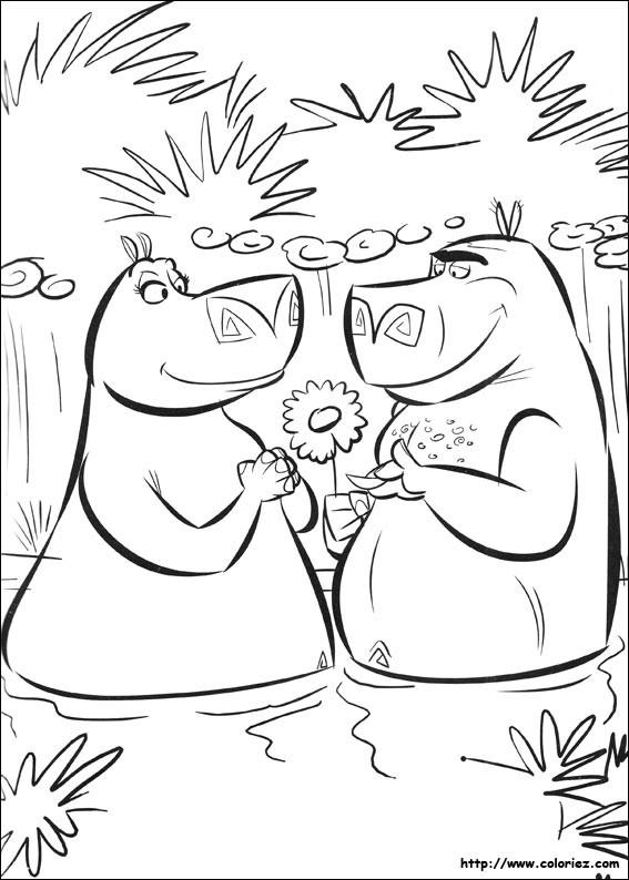 Coloriage et dessins gratuits Hippopotames amoureux dessin animé à imprimer