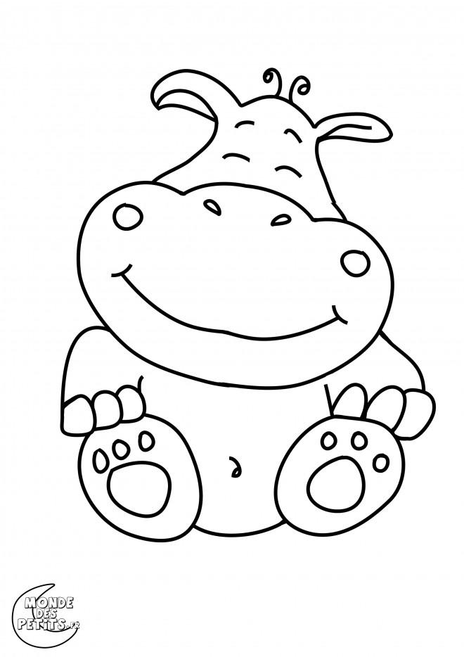 Coloriage et dessins gratuits Petit Hippopotame fantastique à imprimer