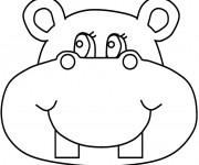 Coloriage et dessins gratuit Tête d'Hippopotame à imprimer
