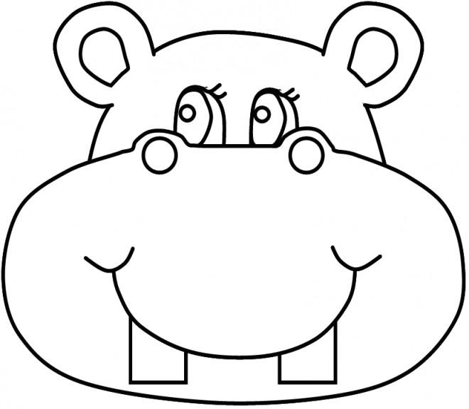 Coloriage t te d 39 hippopotame dessin gratuit imprimer - Dessin d hippopotame ...