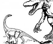 Coloriage et dessins gratuit Deux Dinosaures de Jurassic Park à imprimer