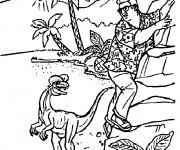 Coloriage et dessins gratuit Dinosaure et homme à imprimer