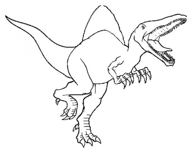 Coloriage dinosaure ouvrant sa bouche dessin gratuit - Jurassic park gratuit ...