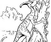 Coloriage Dinosaure sur l'arbre