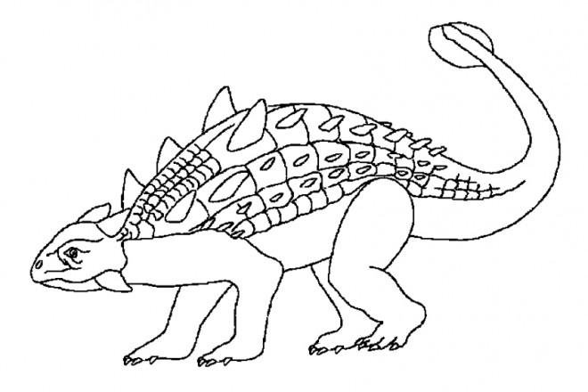 Coloriage euoplocephalus dinosaure dessin gratuit imprimer - Modele dessin dinosaure ...