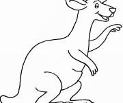 Coloriage et dessins gratuit Kangourou content à imprimer