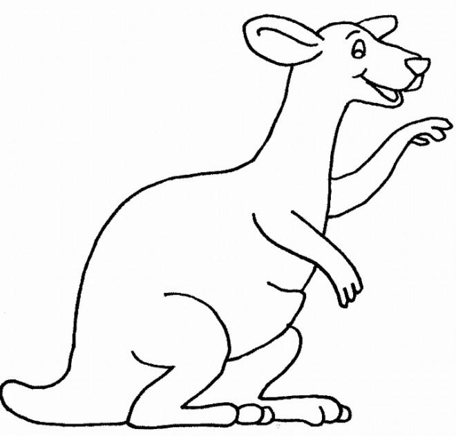 Coloriage et dessins gratuits Kangourou content à imprimer