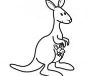 Coloriage Kangourou et sa poche