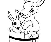 Coloriage Kangourou et son bébé dans un seau