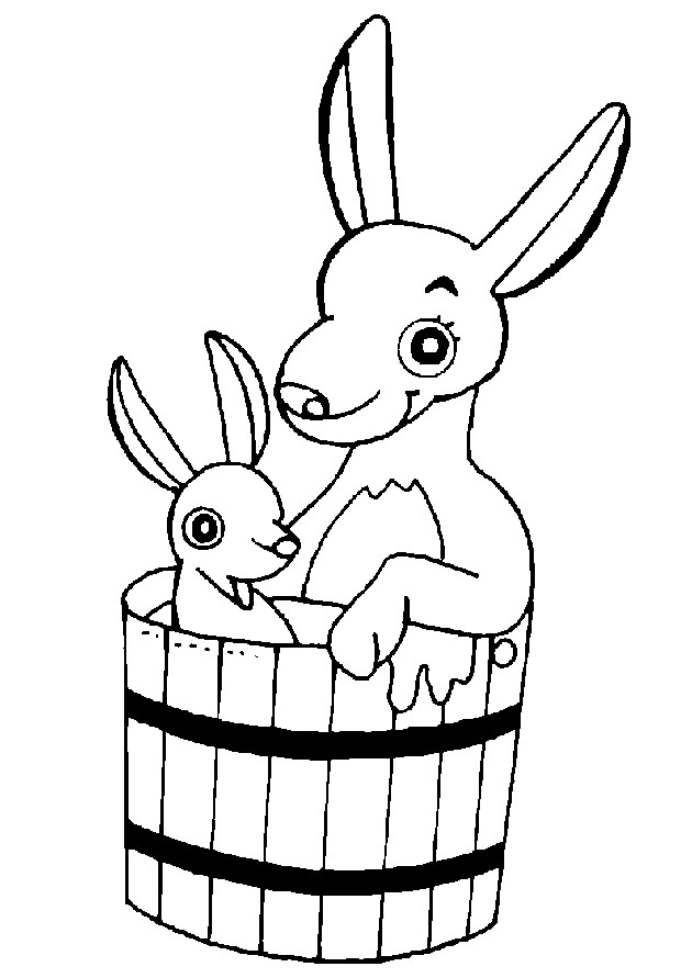 Coloriage et dessins gratuits Kangourou et son bébé dans un seau à imprimer