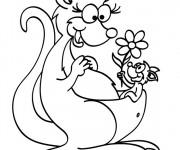 Coloriage Kangourou et son bébé portant une fleur