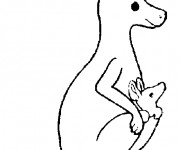 Coloriage et dessins gratuit Kangourou et son petit à imprimer