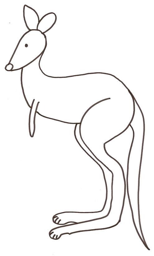 Coloriage et dessins gratuits Kangourou facile à colorier à imprimer