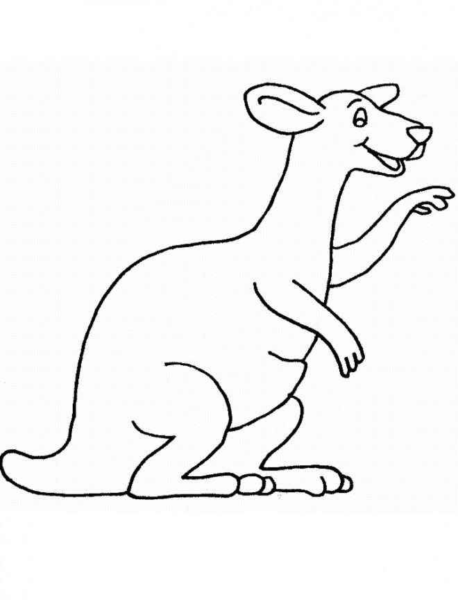 Coloriage et dessins gratuits Kangourou heureux à imprimer
