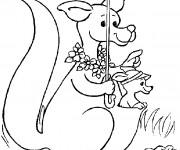 Coloriage Kangourou prend une parapluie