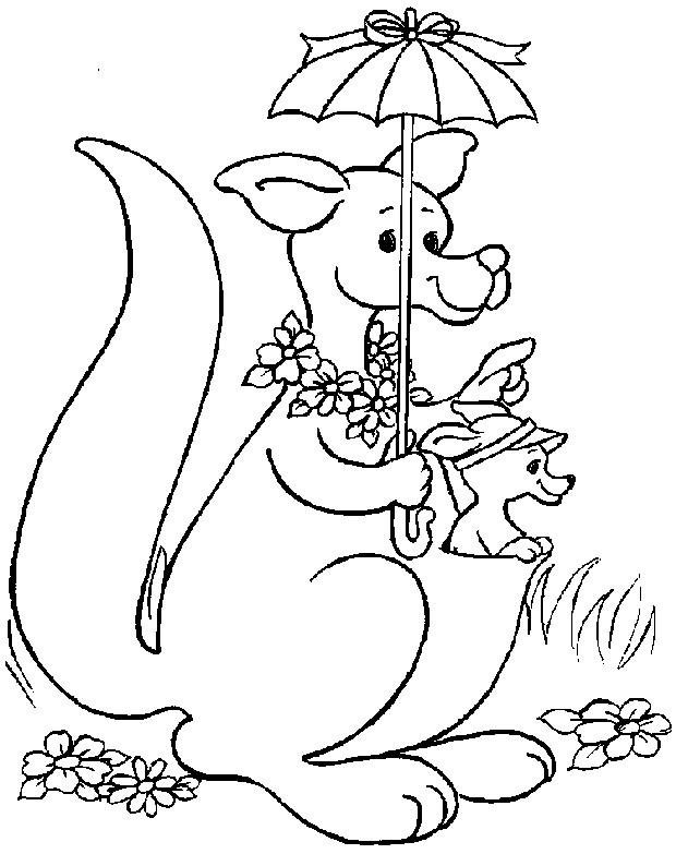 Coloriage et dessins gratuits Kangourou prend une parapluie à imprimer