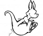 Coloriage et dessins gratuit Kangourou tout en sautant à imprimer