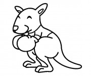 Coloriage Petit Kangourou portant des gants