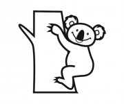 Coloriage et dessins gratuit Koala qui sourit à imprimer